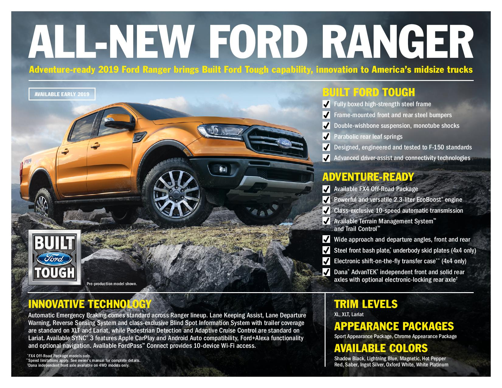 Ford Ranger marks Ford's return to mid-size pickup market