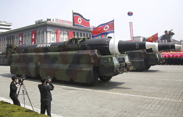 In what military experts say appears to be a North Korean KN-08 Intercontinental Ballistic Missile (ICMB) is paraded across Kim Il Sung Square during a military parade on Saturday, April 15, 2017, in Pyongyang, North Korea, to celebrate the 105th birth anniversary of Kim Il Sung, the country's late founder and grandfather of current ruler Kim Jong Un