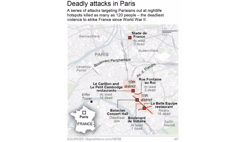 Bataclan Concert Hall Paris Map.Paris Terror Attacks Map Description Of Targets Syracuse Com