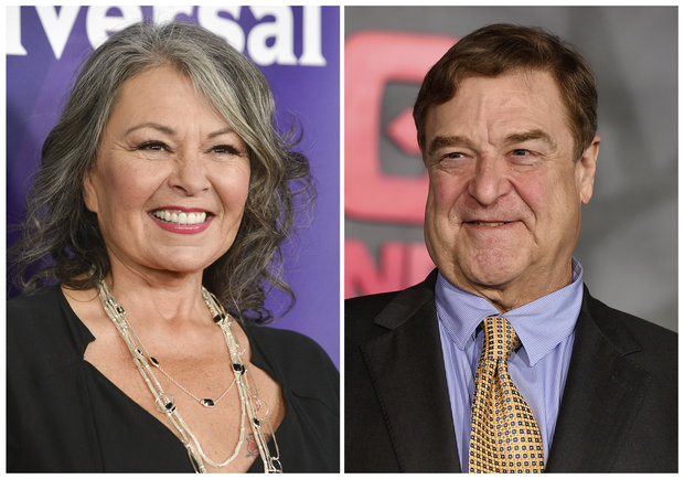 "Roseanne Barr, left, and John Goodman, shown in this combination photo, and the rest of the original cast of ""Roseanne"" will return to ABC two decades after it wrapped its hit series, the network said Tuesday in announcing its 2017-18 season plans. (Photo by Richard Shotwell, left, and Jordan Strauss/Invision/AP, File)"