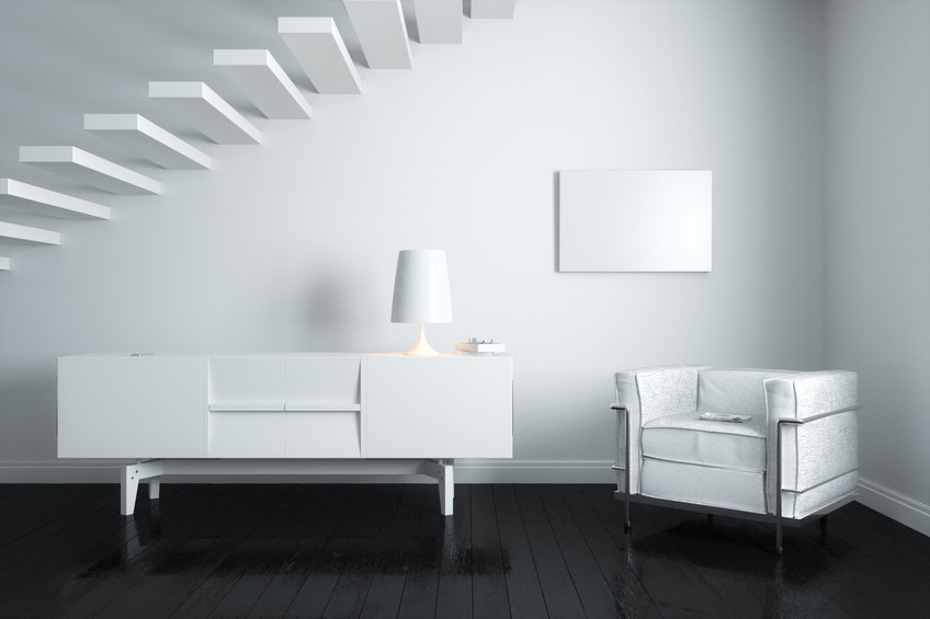New White Room Interior With Minimalist Stairs