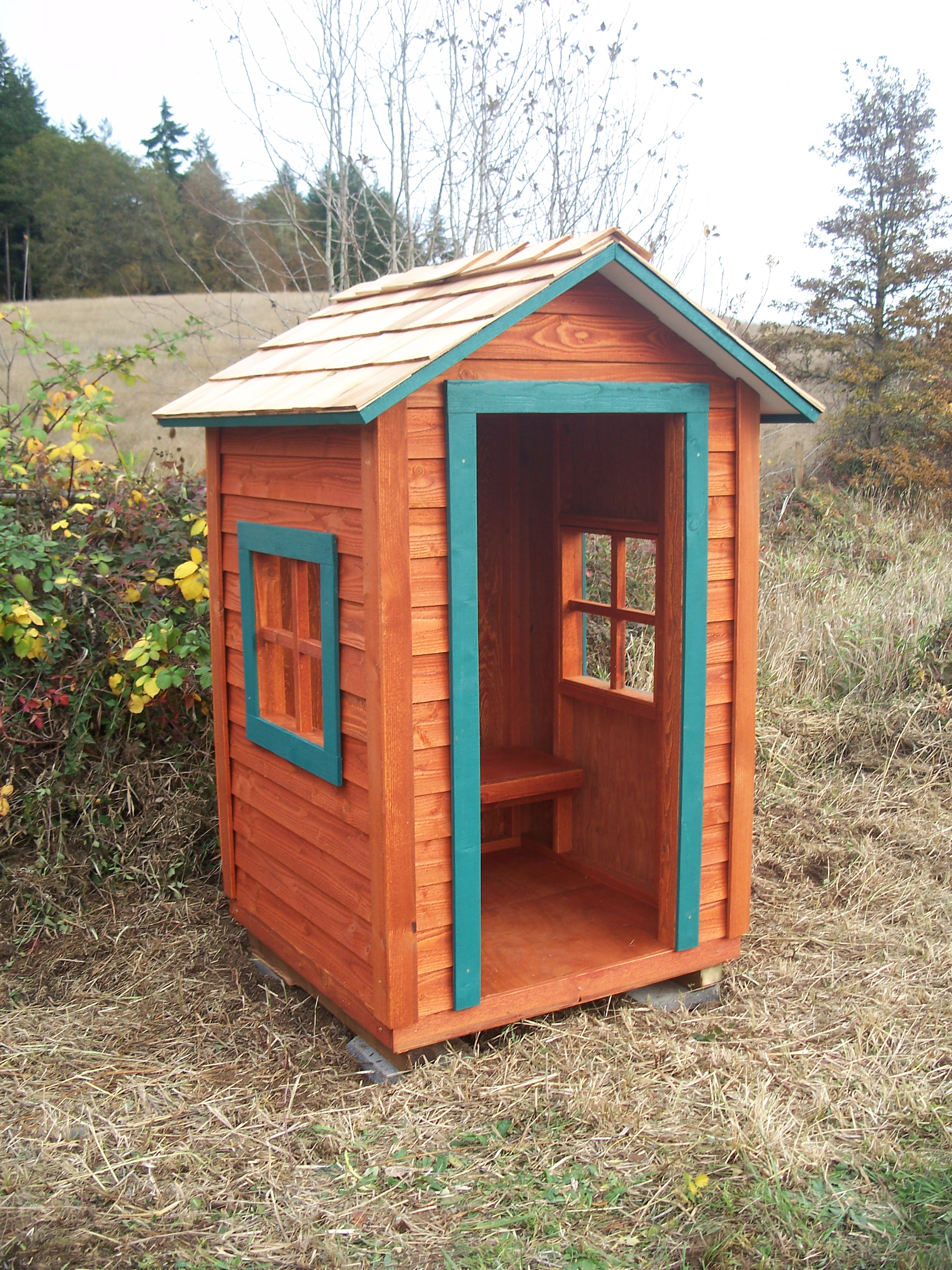 Covered Wood Shelters : Is a school bus shelter the original tiny house