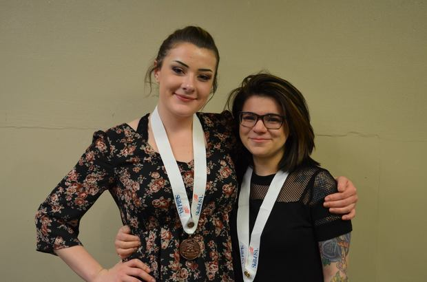 Delaney Fleming (left) took home third place in the esthetics category and Kendra Szikura (right) took home first place in the esthetics (post-secondary) category to gain entry to the national SkillsUSA competition. (courtesy photo)