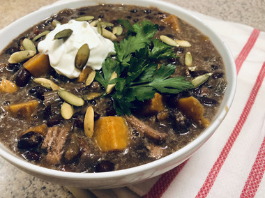 Nothing like a hearty black bean soup to take the chill off a fall weekend