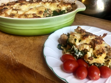 Chorizo Spinach Strata makes a great breakfast dish, or a lovely brunch