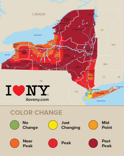 Peak Fall Colors In Finger Lakes Hudson Valley This