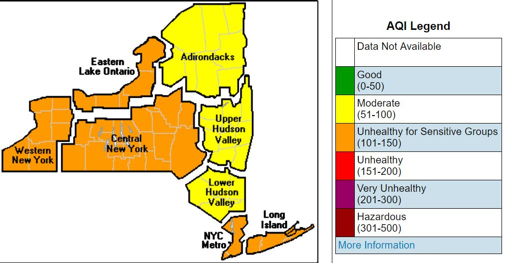 Air Quality Alerts Issued For Upstate NY As Heat Sun Create High - Upstate new york map