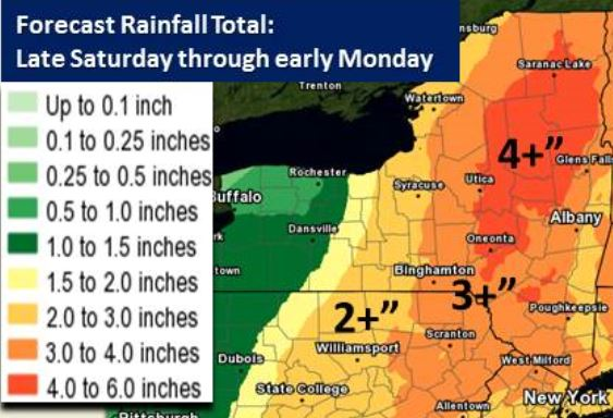 Estimated rainfall totals from this weekend's storm. Higher amounts are possible in isolated