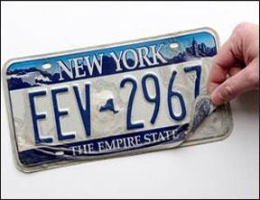 empireblue-peeling-plate.jpg Example of peeling license plateDepartment of Motor Vehicles