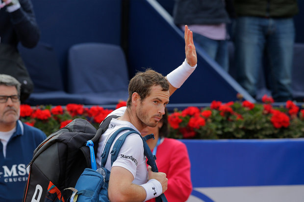 Andy Murray of Britain waves as he leaves the court after losing at the Barcelona Open Tennis Tournament in Barcelona, Spain, Saturday, April 29, 2017.