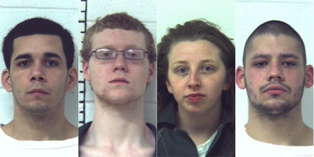 The four people charged in connection with a fatal shooting Jan. 5, 2012, in Phillipsburg are, from left, Andrew Torres, Zachary Flowers, Alexis Flowers and David Beagell. (Courtesy photos)