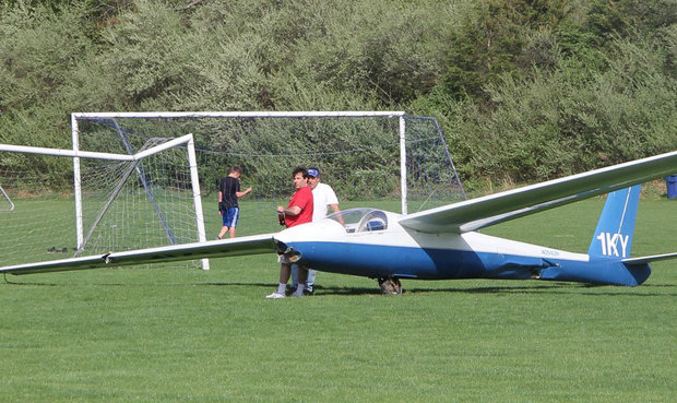 Whether due to miscalculation or tricky winds, a glider ended up in a Blairstown Township soccer field on April 28, 2017. A goal post was clipped, but no one was hurt. (Robert Halberstadt | lehighvalleylive.com contributor)