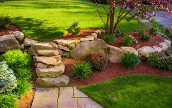 Well Landscaped Rock Stairs And Wall