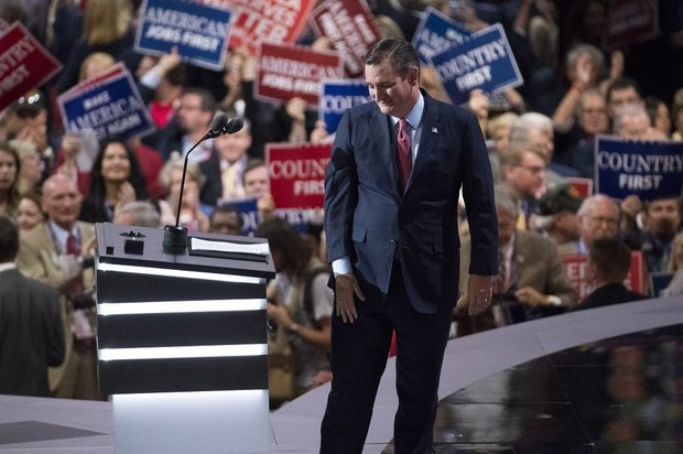 Sen. Ted Cruz, R-Texas, walks from the podium after speaking during the Republican National Convention, Wednesday, July 20, 2016, in Cleveland. (Evan Vucci, Associated Press)