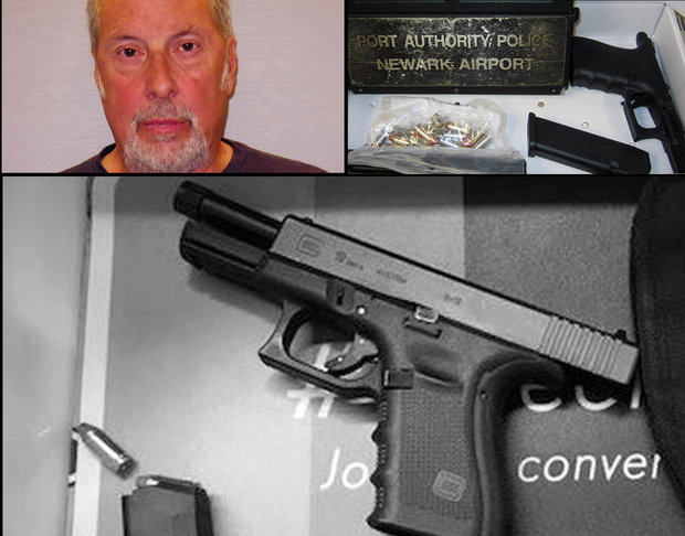 Maurice Harmon, 63, of Lehigh Township, was arrested Saturday by Port Authority police after Transportation Security Agency personnel saw a loaded Glock 19 semiautomatic handgun in his carry-on bag at Newark Liberty International Airport. (Port Authority police photos | For lehighvalleylive.com)